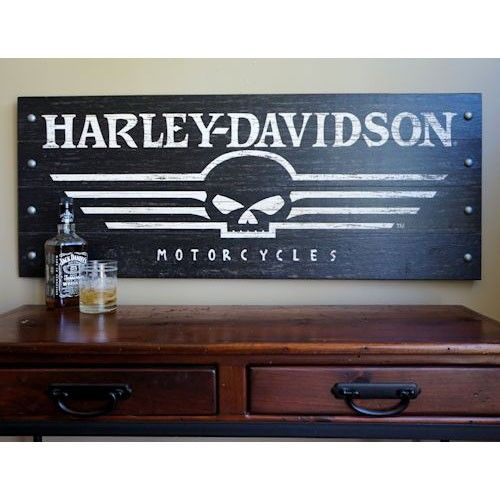 Harley-Davidson Skull Wood Sign with Metal Studs