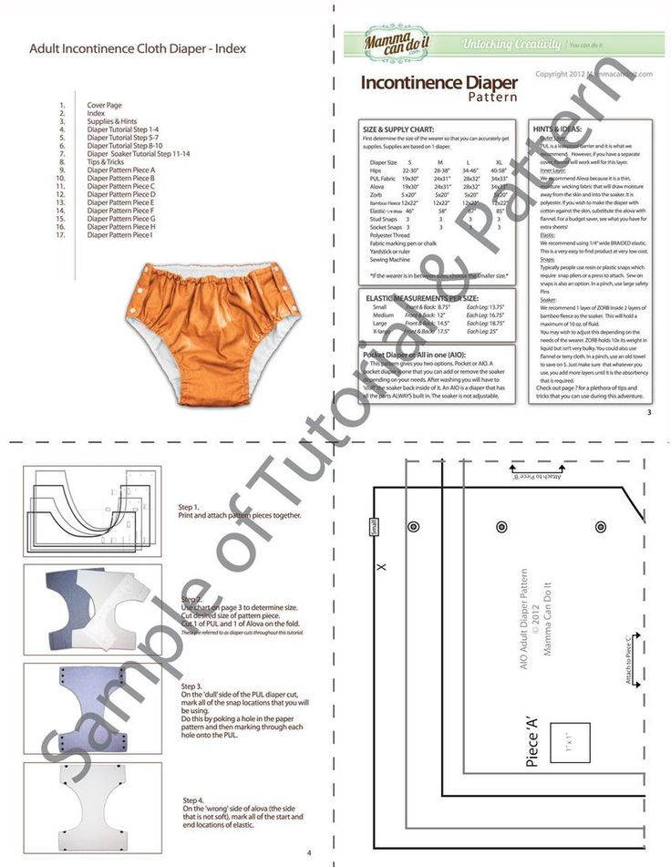 """Sew a special needs diaper with this special needs diaper pattern. It has the option of an AIO (all in one) or a POCKET style. You'll never need another sewing pattern for special needs diaper wearing again. Fits waist /hip size 22-58"""". $20"""