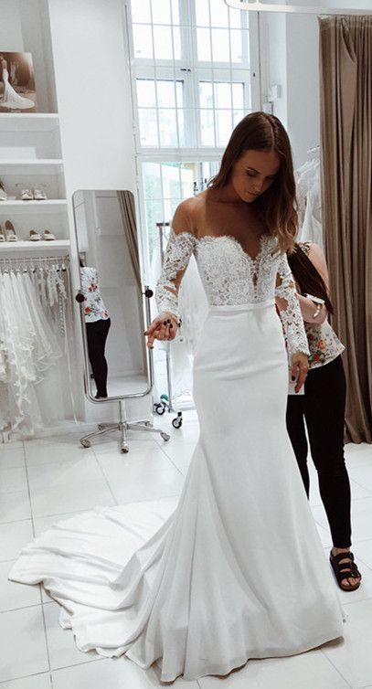 17d86595df87 Elegant Mermaid Off the Shoulder Long Sleeves White Lace Wedding Dresses  with Applique