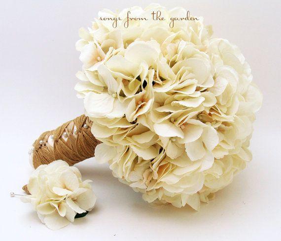 Wedding Bouquet Cream Silk Hydrangea Groom's Boutonniere Rustic Vintage Silk Flower Bridal Bouquet Jute Ribbon - Ivory Silk Flower Hydrangea