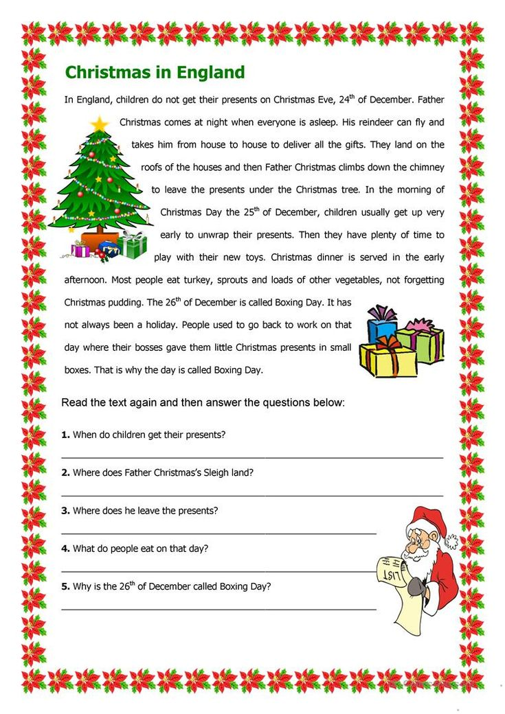 Christmas In England Worksheet Free ESL Printable