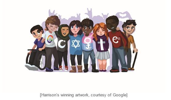 """STRATFORD -- A Bunnell High School tenth-grader got a visit from Google reps at a school assembly Wednesday.  Sarah Harrison will have her artwork showcased as the winner of the Connecticut Doodle 4 Google Competition.  Harrison's winning artwork, which was revealed at the assembly at the Stratford school, and inspired by the prompt """"What I see for the future…"""""""