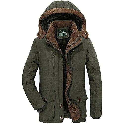 #Herren Warme Winterjacke Parka Jacke mit Fell Wintermantel mit Kapuze Übergangsjacke Gefütterte Winterparka, 00658126238151