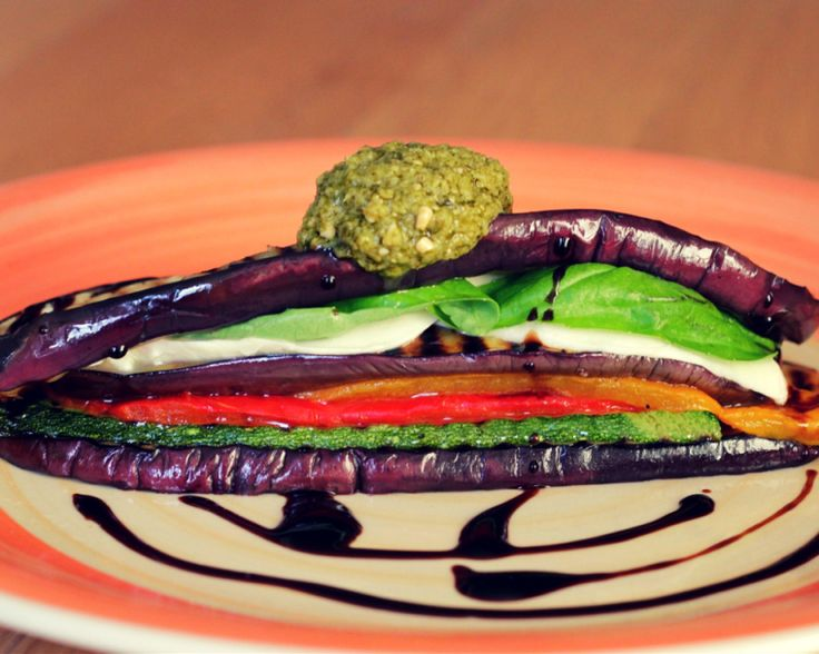 Eggplant, courgette, roast pepper, mozzarella and basil vegetable stack