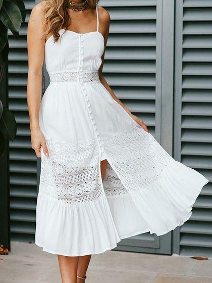 27636786a1 White Lace Panel Open Back Chic Women Cami Midi Dress - Choies.com ...