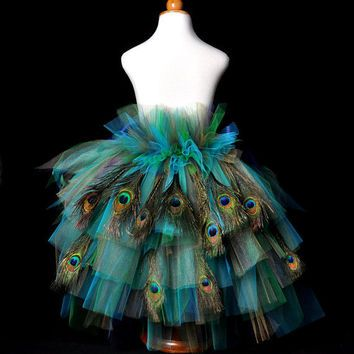 Peacock Feather Bustle Tutu...Halloween from TutuGorgeousGirl on