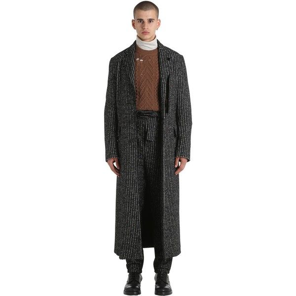 Damir Doma Men Extra Long Striped Wool & Alpaca Coat (16.432.115 IDR) ❤ liked on Polyvore featuring men's fashion, men's clothing, men's outerwear, men's coats, mens long wool coat, mens wool coats, mens coats, mens wool outerwear and mens alpaca coat