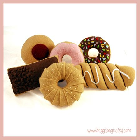 Sweetly pretty assortment of felt food doughnuts and pastries.