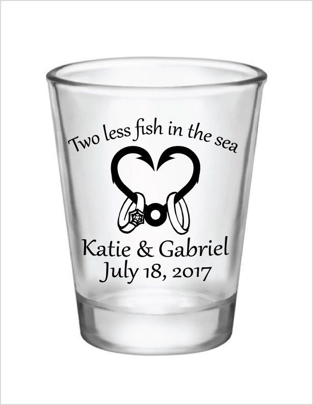 Wedding Favors Shot Glasses Two less fish in the Sea Heart Hook Wedding Rings 1.5oz Glass Shot Glasses Custom Personalized Fishing Wedding by Factory21 on Etsy