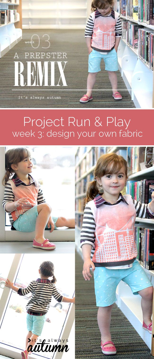 time to vote for your favorite DIY children's look! Design your own fabric week on Project Run&Play. The cityscape sweater was created using spray dye and the polka dot shorts were creating using bleach pen.