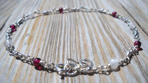 925 Sterling Silver Garnet,Rainbow Moonstone Anklet  | pavlos - Jewelry on ArtFire