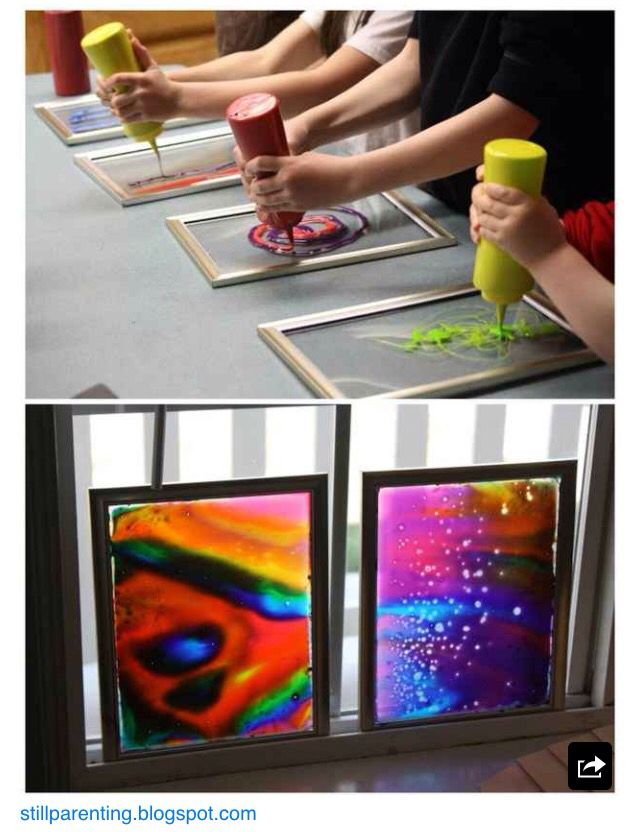 Food colouring and Elmer's glue with a dollar store frame.  How beautiful is this?