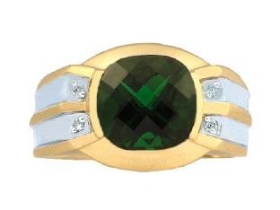 Men's Emerald and Diamond Checkerboard Cut Ring (Online at Gemologica.com)