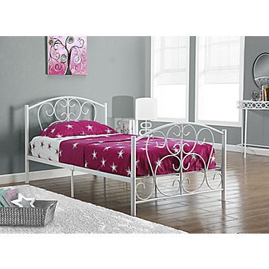 monarch metal twin size bed frame only white 16677 - Bed Frames For Twin Bed