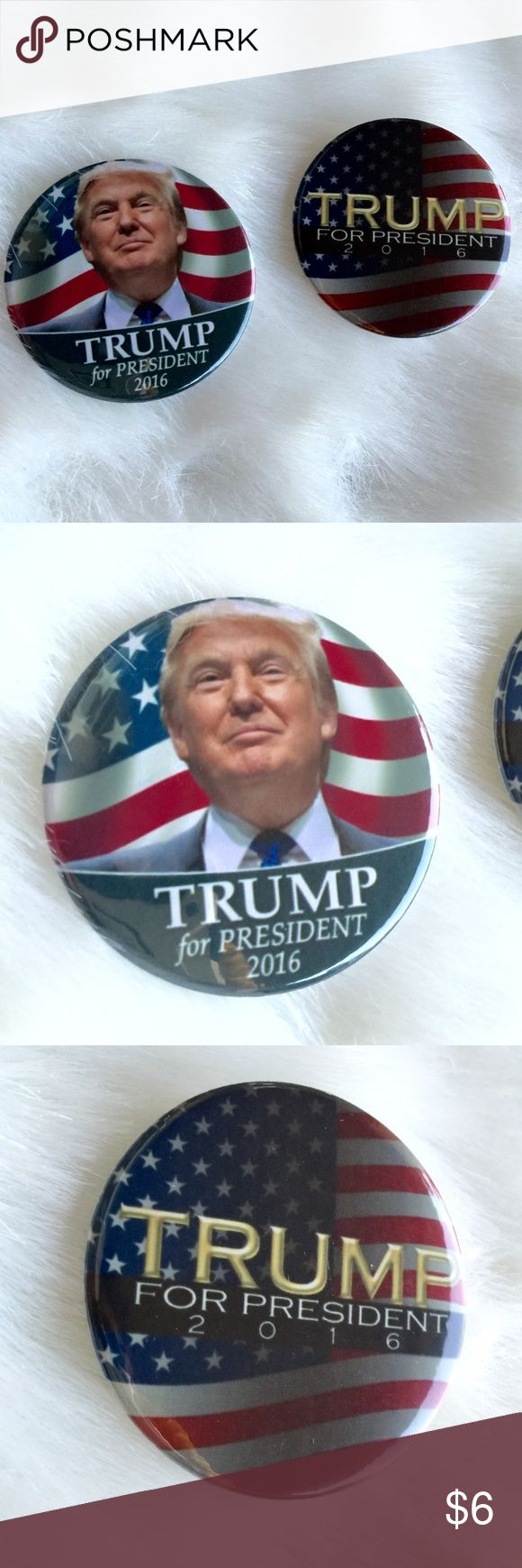 Set of 2 Trump Pins Brand new without tags. FYI: If you don't like Trump, so what?! This is NOT a political forum, I'm selling this hat, NOT an argument! Price is for both Jewelry Brooches
