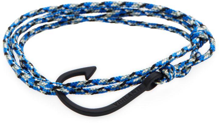 Dapper Vigilante Men's The Chuck Black & Blue Matte Black Fish Hook Bracelet