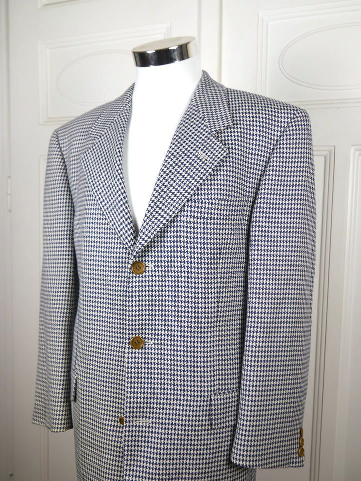 Hugo Boss Wool Cashmere Houndstooth Blazer, German Vintage Black White Checked Jacket, XL Dogtooth Wool Cashmere Sport Coat: Size 42 US/UK by YouLookAmazing on Etsy