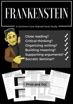 This 46-page pdf file contains printables organized by chapter to accompany your class read of Frankenstein. Although it does contain some vocabulary study and plenty of activity, the activity students are asked to do rarely contain rote memorization of the book's details or the book's vocabulary.