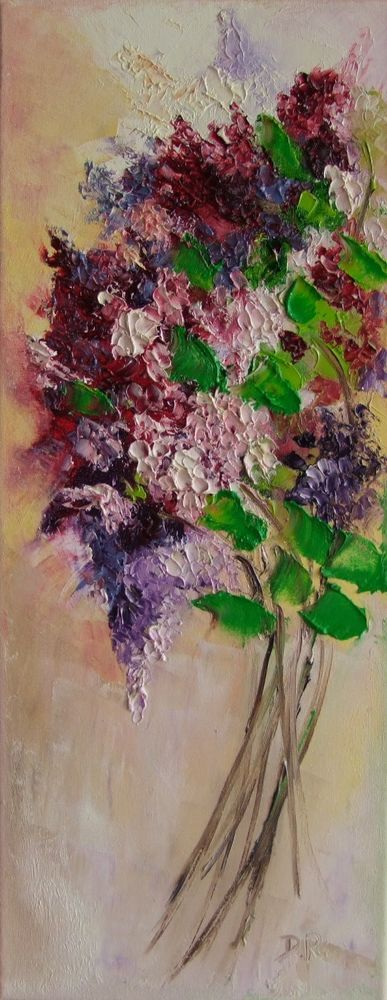 Lilacs Bouquet Impression Original Oil Painting Artist IMPASTO Flower Garden Art #Impressionism