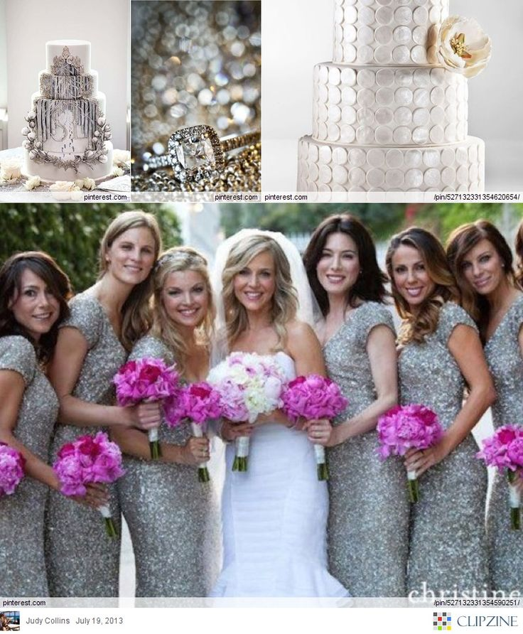Platinum Wedding  love the grey with the bright flowers