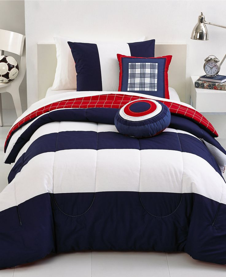 Rugby stripe 5 piece comforter sets teen bedding bed for Boys rugby bedroom ideas