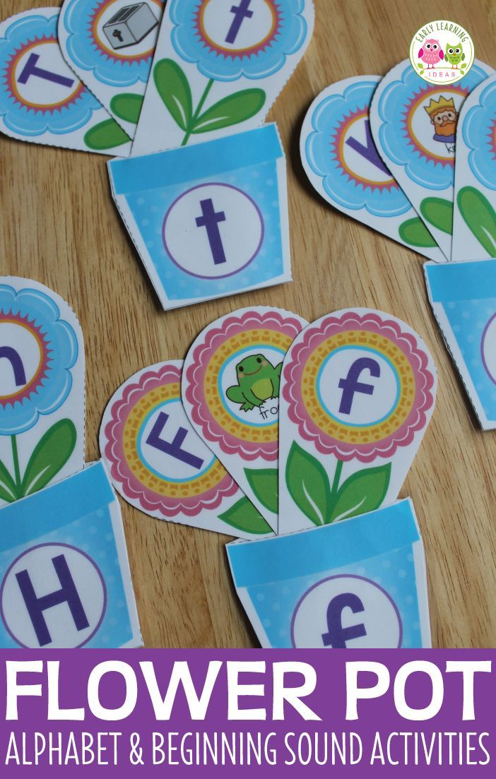Flower Pot Alphabet And Beginning Sound Matching Activity Preschool Crafts Alphabet Activities Spring Lesson Plans Preschool literacy activities for plants