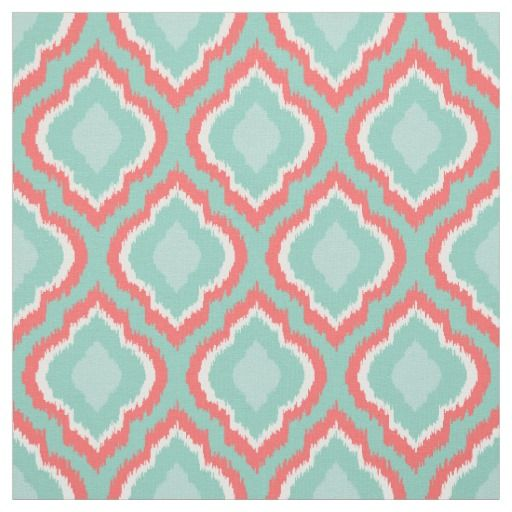 Coral Aqua and Mint Ikat Moroccan Fabric