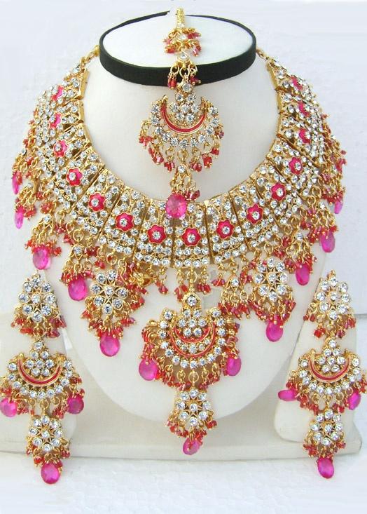 Pink Designer Indian Jhoomar Style Golden Base Necklace Set with Tika