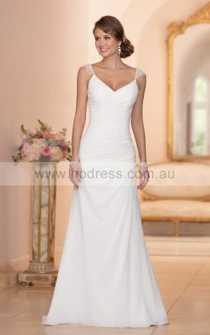 A-line V-neck Empire Cap Sleeves Floor-length Wedding Dresses wes0117--Hodress