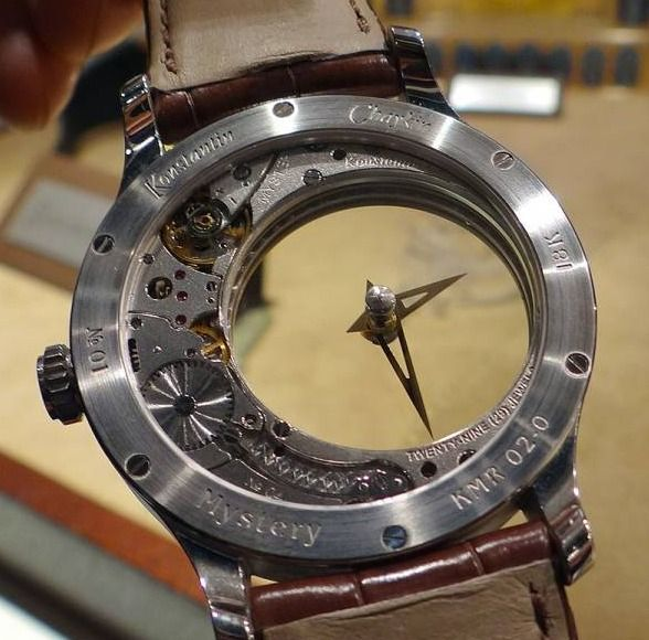 """View through the back of the completely transparent dial of the Konstantin Chaykin """"Mystery"""" watch. Not only is that amazing, but it's actually a novel creation that stands out among all of the rehashed designs being touted lately."""