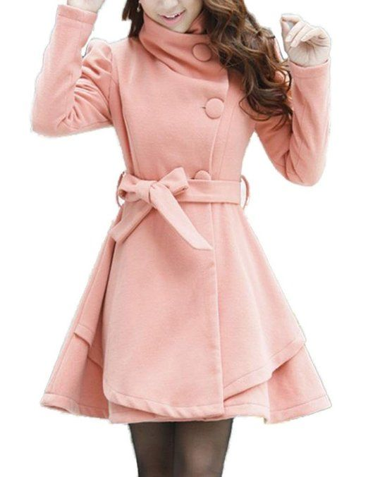 Naughty Gal Shoes : Women's Fold-Collar Tie Front Wool Coats with Skirted Hem