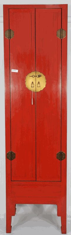 Asian Furniture: Asian-Inspired Red Lacquered Tall and Slender Cabinet from China