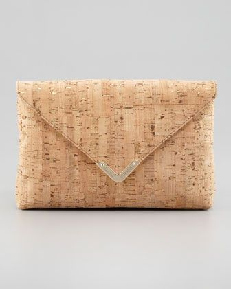 Bella Cork Envelope Clutch Bag, Natural by Elaine Turner at Neiman Marcus.