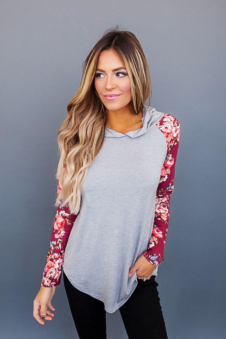 Grey/Burgundy Floral Sleeve Hooded Top - Dottie Couture Boutique