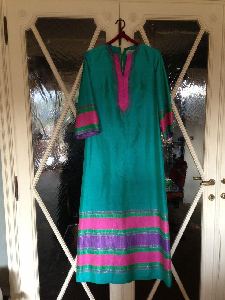 Raw silk fabric long coloured dress from Malaysia
