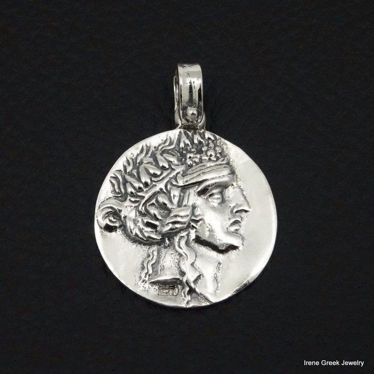 BIG RARE DIONYSOS COIN 925 STERLING SILVERGREEK HANDMADE ART PENDANT #IreneGreekJewelry #Pendant