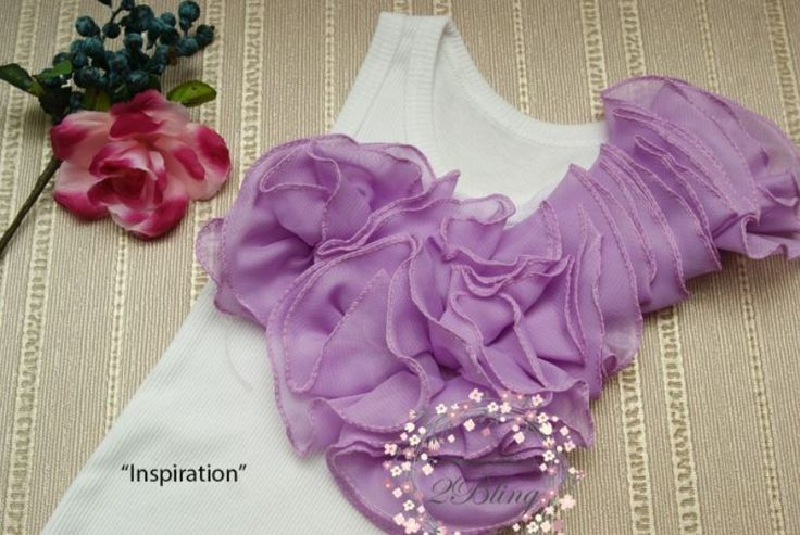 DIY Inspiration Ruffle collar trim for kids and woman tshirt/singlet embellishment.  #ruffle #rufflecollar #lavender #prettyruffle #DIYinspiration #sewingwithlove