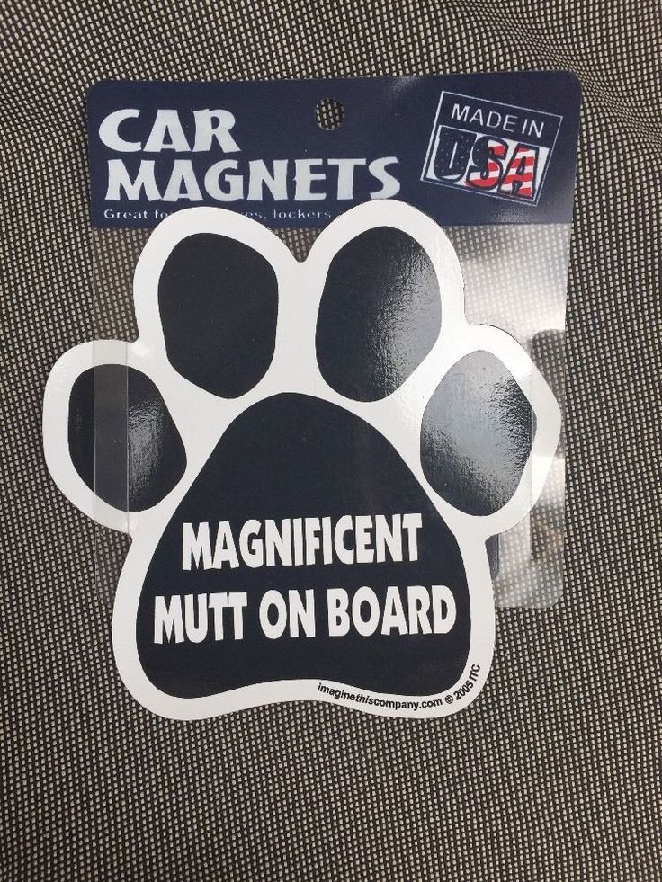 """Magnificent Mutt on Board  Magnet For Car  USA Made 5.5"""" Vinyl Benefit Rescue  