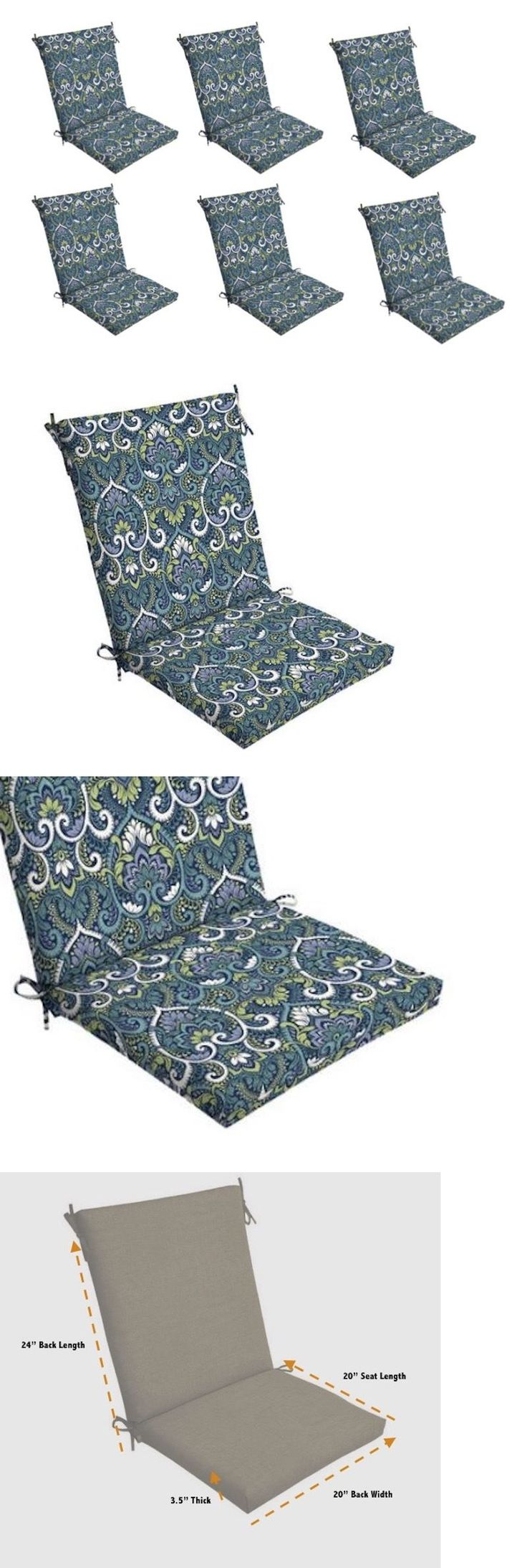 Cushions and Pads 79683: Blue Damask Patio Chair Cushion Set Of 6 Outdoor Dining Replacement Cushions Sea -> BUY IT NOW ONLY: $274.98 on eBay!