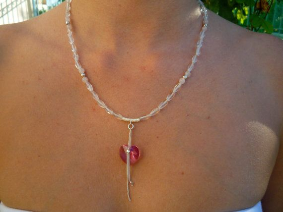 Crystal and Rose Quartz necklace with rose Swarovski Crystal heart pendant.