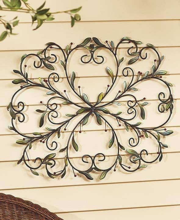 Scrolled Metal Rustic Welcome Wall Plaque Outdoor Berries Porch Sign Wall  Decor