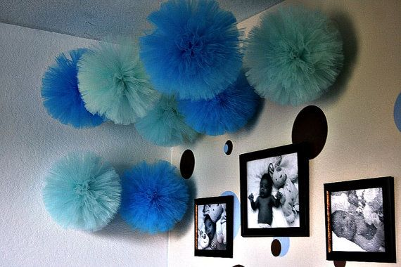 Tulle pom pom set of 20. . for weddings party by shanealwilliamson