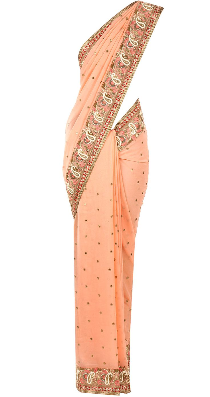 Pink gota work sari - Featuring a peach georgette sari with aari ,resham and gota work and fuschia and gold border. It comes with a fuschia embroidered blouse piece. - SVA