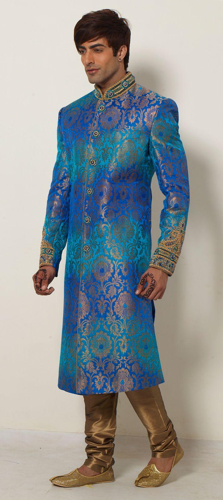 500041: Blue color family Sherwani.