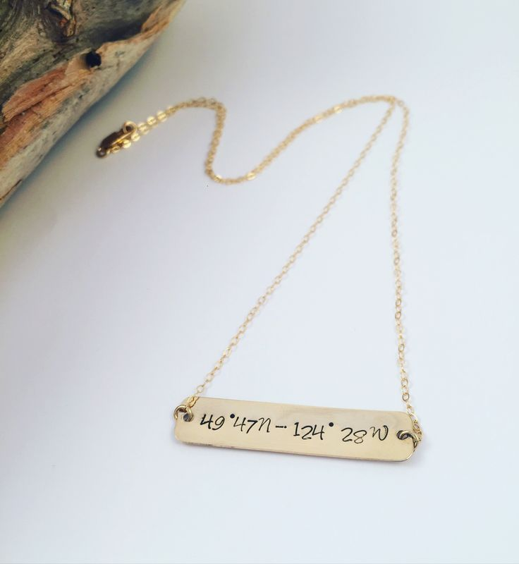 14k Gold Filled Bar & Chain necklace. Longitude and latitude.