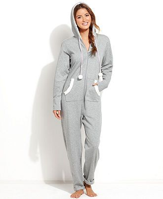 Jenni French Terry Hooded Jumpsuit - Lingerie - Women - Macy's
