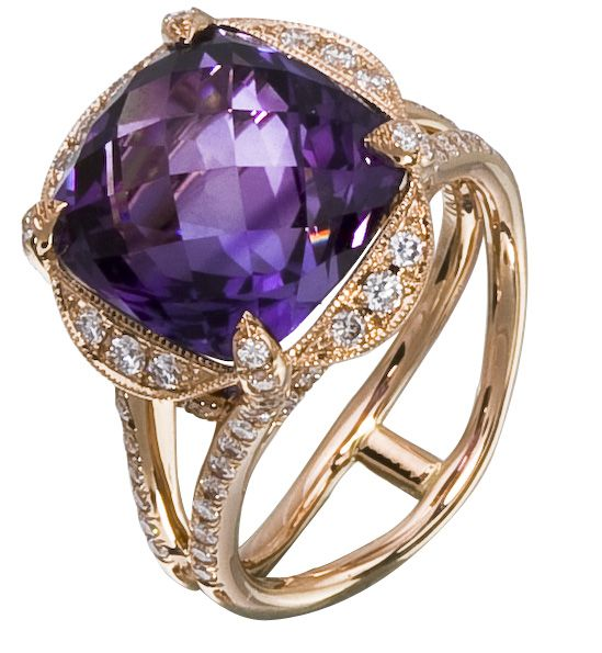 Diamond Ring, .61 Carat Diamonds 7.75 Carat Amethyst on 14K Rose Gold