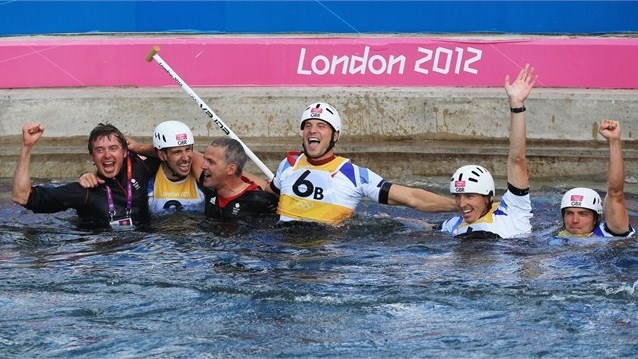 Gold medallists Etienne Stott (2L) and Tim Baillie (R) of Great Britain celebrate with silver medalists David Florence (2R) and Richard Hounslow (3R) of Great Britain after the men's Canoe Double (C2) Slalom final on Day 6 of the London 2012 Olympic Games at Lee Valley White Water Centre