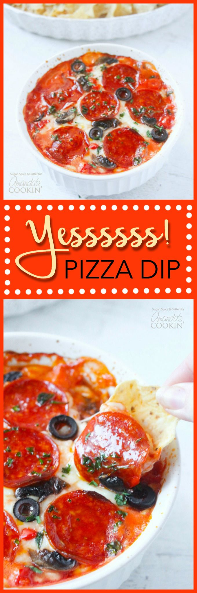 Amazing! Make this delicious pizza dip, perfect for the big game or just hanging out with friends. Serve with tortilla chips, bread sticks or big hunks of crusty bread!