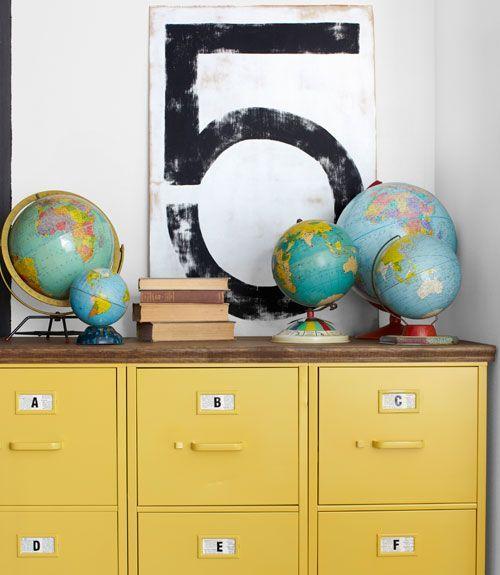 idee deco globe terrestre affiche